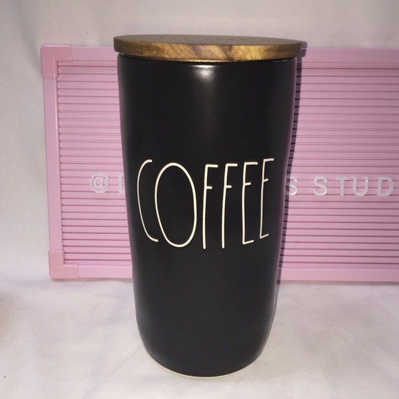 Rae Dunn COFFEE black canister /cellar wood lid